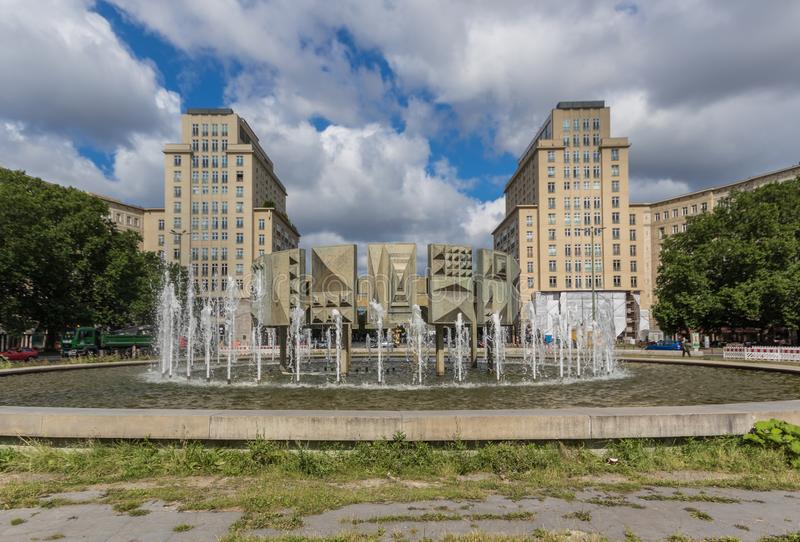 Karl Marx Allee, East Berlin. Germany. Berlin, Germany - main avenue during of the GDR East Germany, Karl Marx Allee presents many beautiful buildings. Here in royalty free stock photography