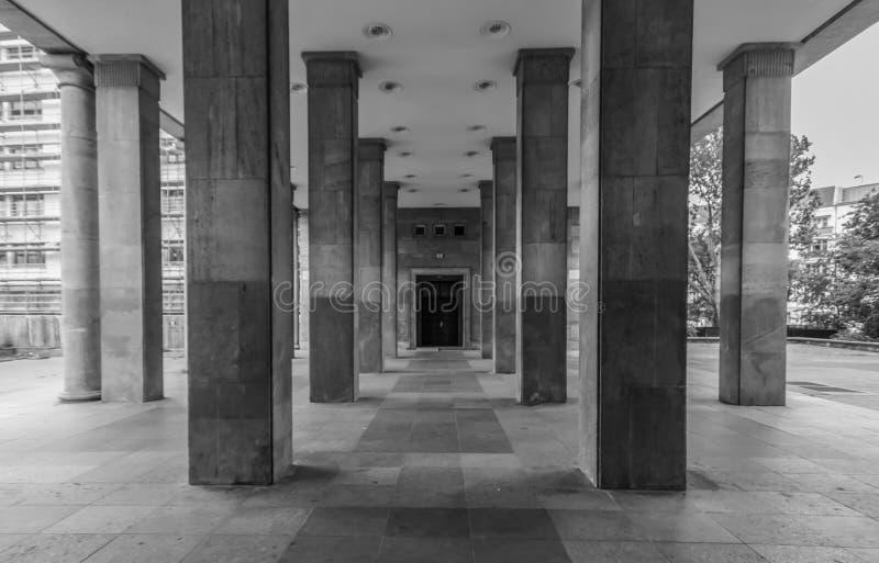 Karl Marx Allee, East Berlin. Germany. Berlin, Germany - main avenue during of the GDR East Germany, Karl Marx Allee presents many beautiful buildings. Here in royalty free stock image