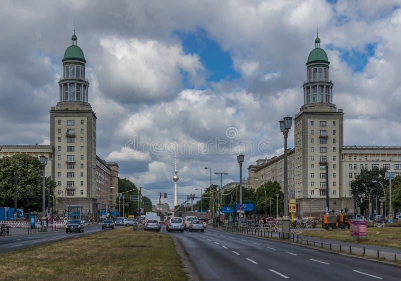 Karl Marx Allee, East Berlin. Germany. Berlin, Germany - main avenue during of the GDR East Germany, Karl Marx Allee presents many beautiful buildings. Here in royalty free stock photos