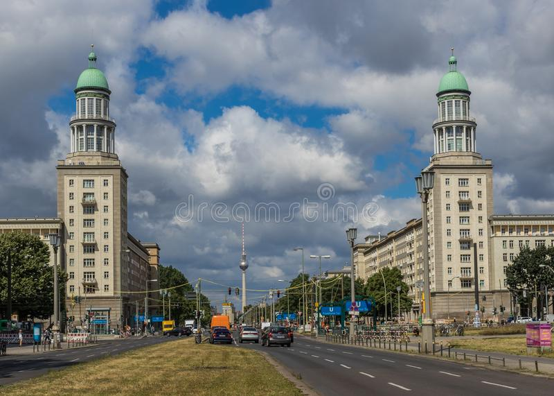Karl Marx Allee, East Berlin. Germany. Berlin, Germany - main avenue during of the GDR East Germany, Karl Marx Allee presents many beautiful buildings. Here in stock photo