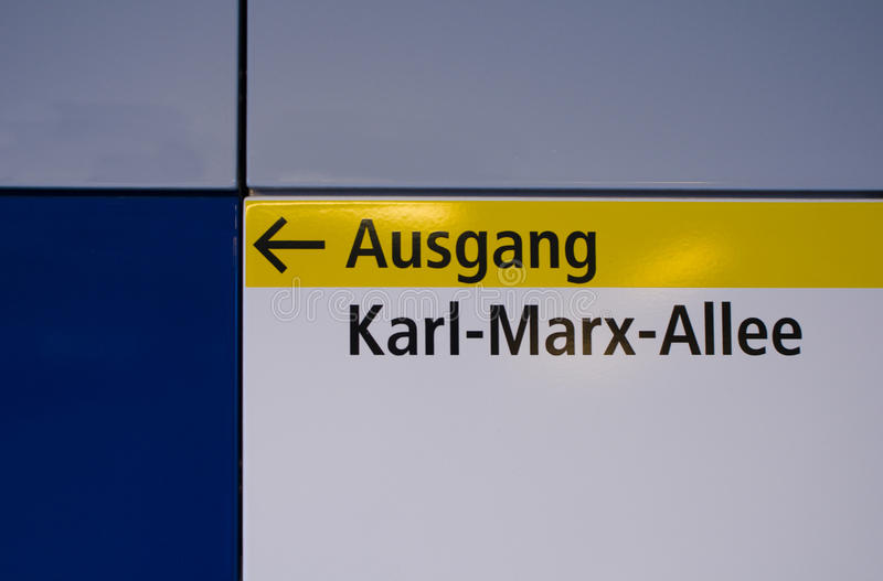 Karl-Marx-Allee. Exit in Berlin subway to the street Karl-Marx-Allee. Photo taken: 02nd May 2015 royalty free stock images