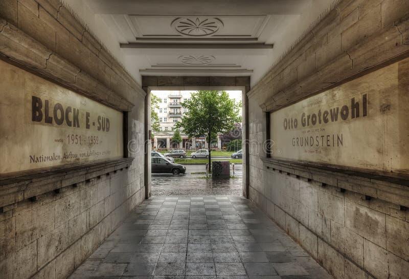 Karl-Marx-Allee In The Rain. Looking through the communist era buildings during heavy rain on Karl-Marx-Allee in East Berlin stock image