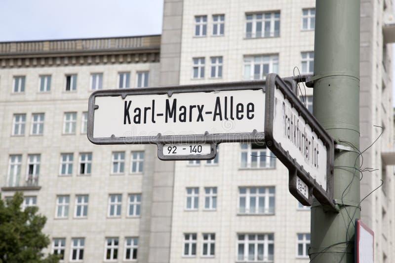 Karl Marx Allee Street Sign Berlin royaltyfri bild