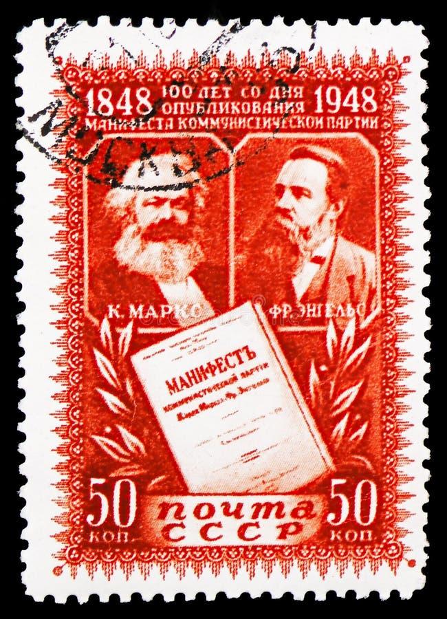 Karl Marx Friedrich Engels, 100. årsdag av den kommunistiska manifestserien, circa 1948 royaltyfri bild