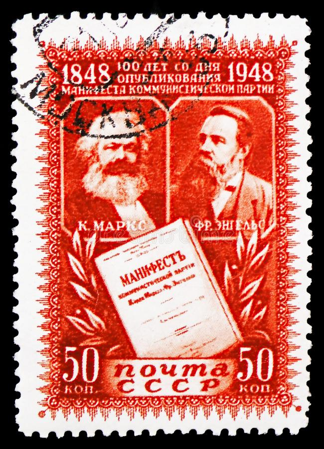 Karl Marx, Friedrich Engels, 100o aniversario del serie comunista del manifiesto, circa 1948 imagen de archivo libre de regalías