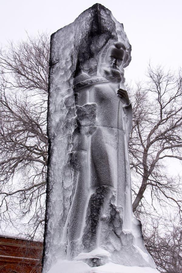 Karl Marx monument Stads- sikt i vintern fotografering för bildbyråer