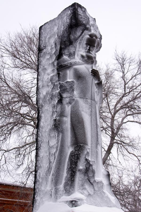 Karl Marx. Monument.  Urban view in the winter stock image