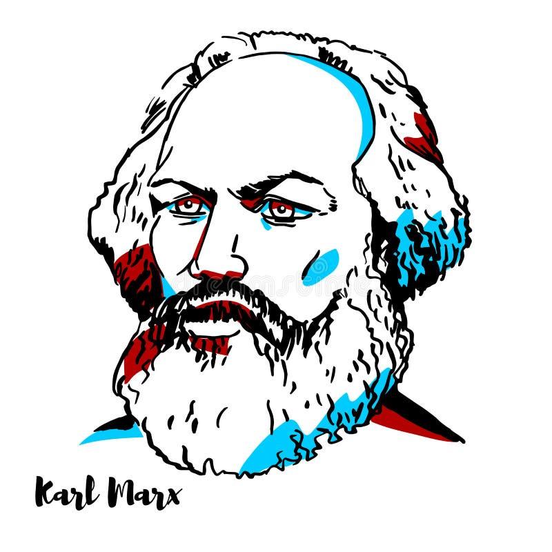 Karl Marx Portrait stock illustratie