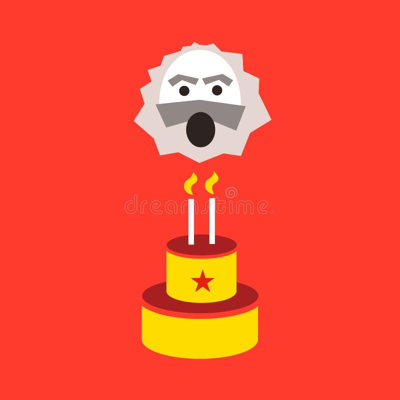 Karl Marx viert verjaardag van zijn verjaardag stock illustratie
