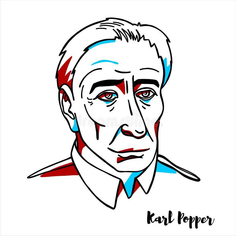 Karl Popper portret ilustracja wektor