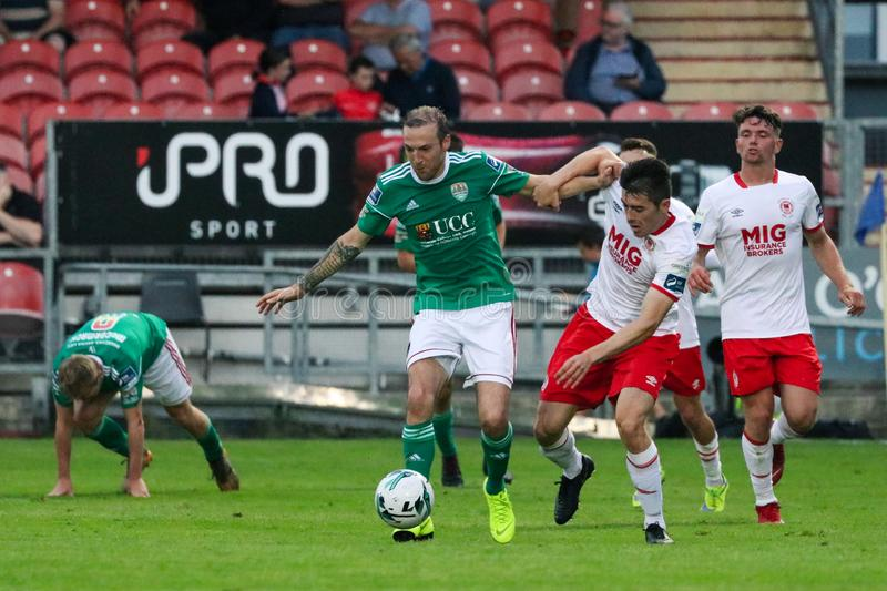 Karl Sheppard at League of Ireland Premier Division match between Cork City FC vs St Patricks Athletic FC royalty free stock image