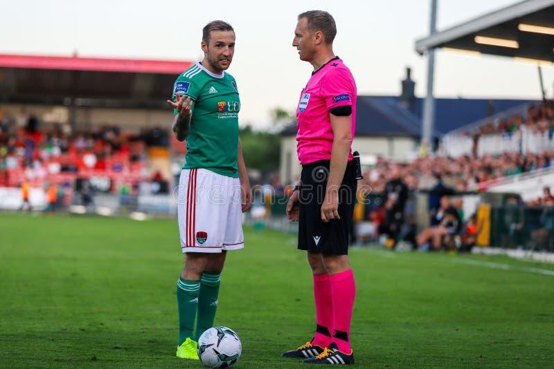 Karl Sheppard på Cork City FC vs Europa Leaguematch för FC Progres Niederkorn royaltyfria bilder