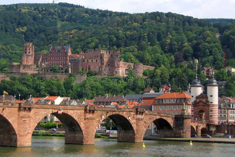 Karl Theodor Bridge and Electoral Palace Ruins in Heidelberg, Baden-Wuerttemberg, Germany royalty free stock images