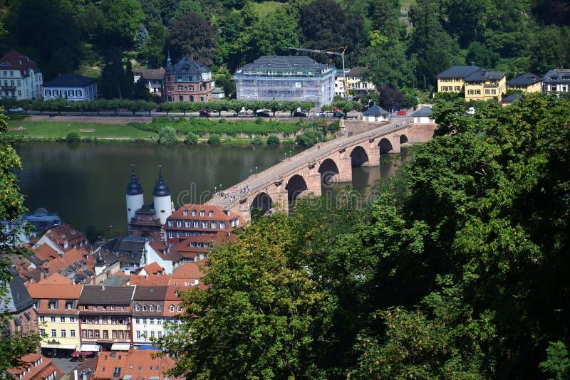 Karl Theodor Bridge Old Bridge sobre el río Neckar, Heidelberg, Alemania fotografía de archivo libre de regalías