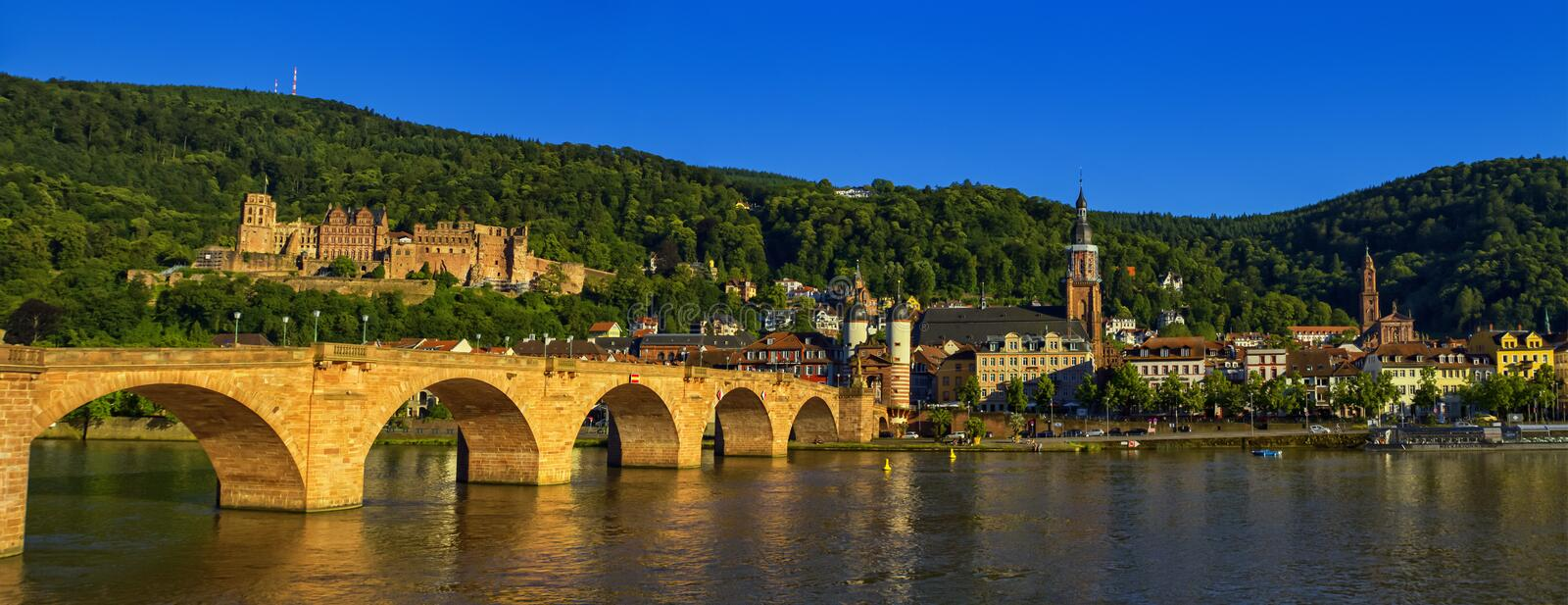 Karl Theodor or old bridge and castle, Heidelberg, Germany. Karl Theodor or old bridge, Alte Brucke, Neckar river and castle by day, Heidelberg, Germany royalty free stock photography