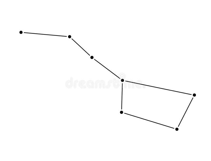 Karlavagnenkonstellation som isoleras på vit bakgrund viktig ursa stock illustrationer