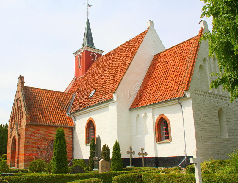 Karleby Kirke. Denmark. Nykøbing. June-15 2017. Karleby Kirke from 1130 in Nykøbing on the island Falster. Denmark stock images