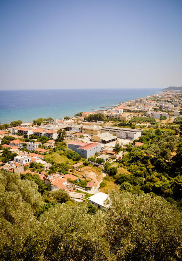 Karlovasi-Stadtpanorama, Samos, Griechenland lizenzfreies stockbild
