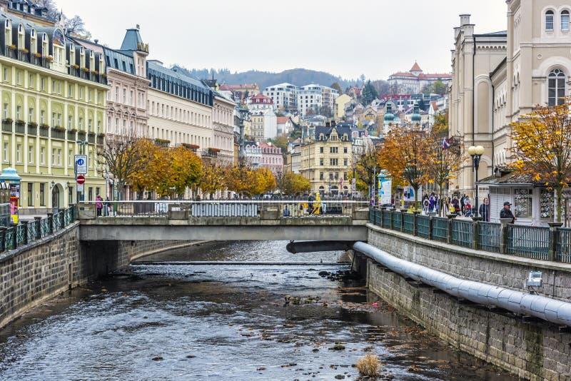 Karlovy varia a cidade, recurso de sa?de na rep?blica checa imagem de stock