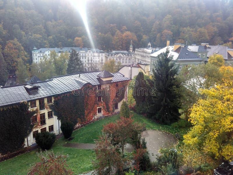 Karlovy varieert, Tsjechische Republiek - 15 Oktober, 2017, hotel Pupp royalty-vrije stock afbeeldingen