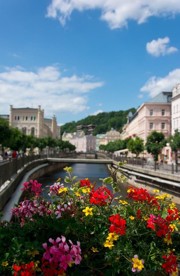 Karlovy varierar, floden över blommor arkivfoto