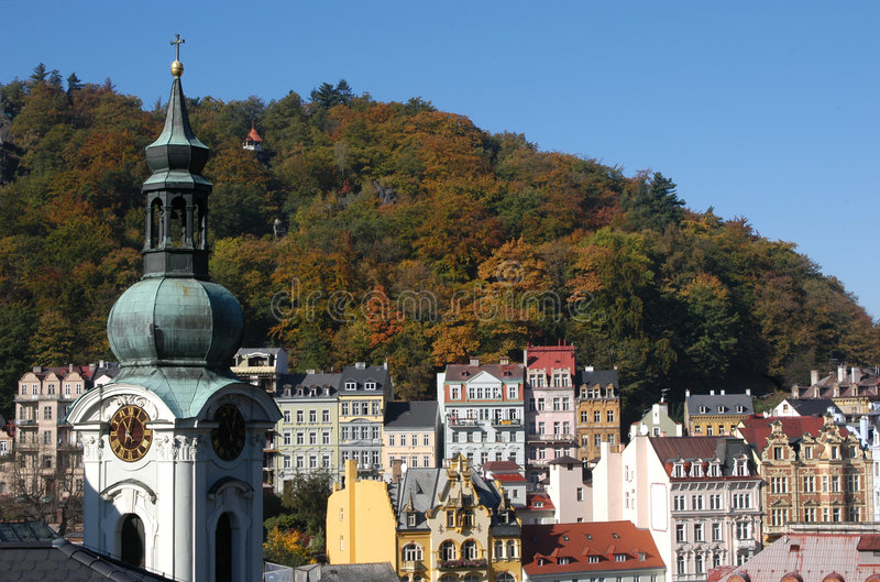 Karlovy Vary. A famous spa resort Karlovy Vary also known as Karlsbad in Western Bohemia, Czech Republic royalty free stock photography
