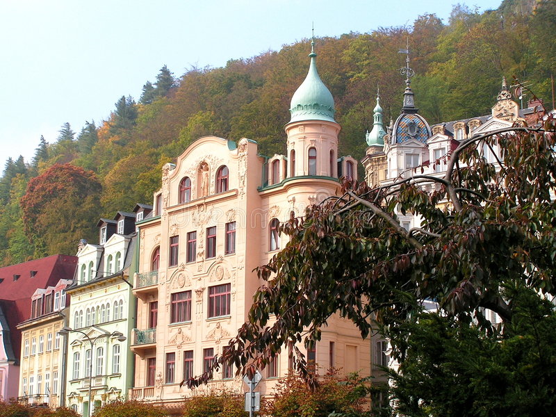 Karlovy Vary. Karlovy Vary - a combination of different architectural styles of construction stock photo
