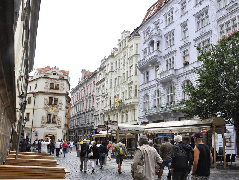 Karlovy-Vary,August 28:Downtown Street at dusk in Karlovy Vary in Czech Republic royalty free stock images