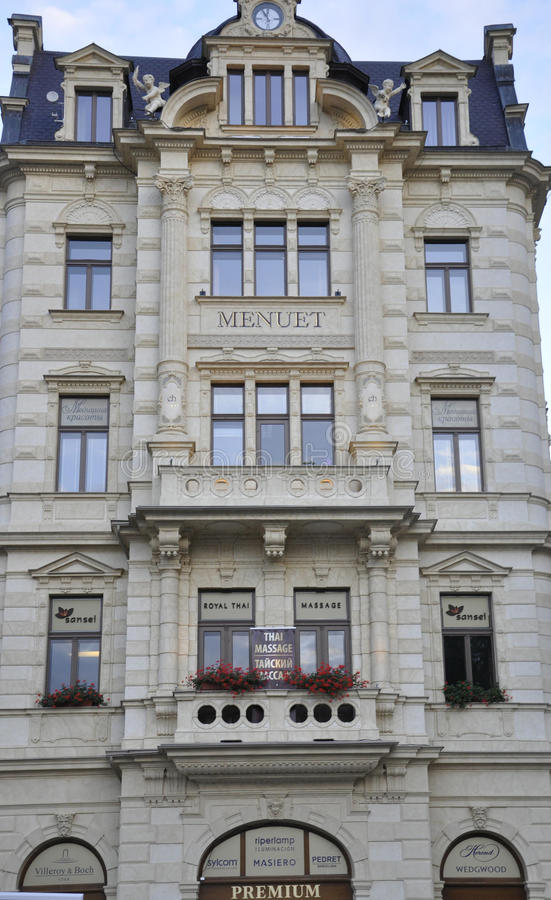 Karlovy-Vary,August 28:Hotel Menuet building in Karlovy Vary in Czech Republic stock photography