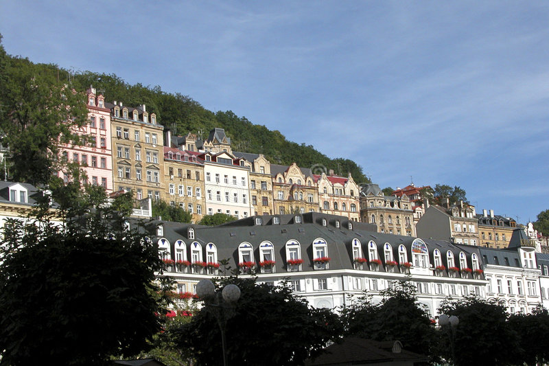 Karlovy Vary cityscape stock photo