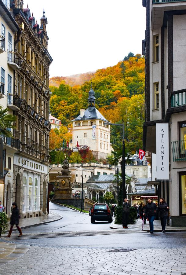 Rainy and foggy day in center of Karlovy Vary in autumn stock image