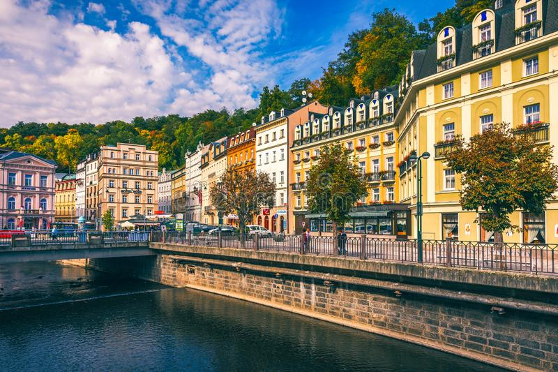Karlovy Vary, Czech Republic - September 30, 2017: View of old town of Karlovy Vary (Carlsbad) with tourists, Czech Republic,. Europe stock image