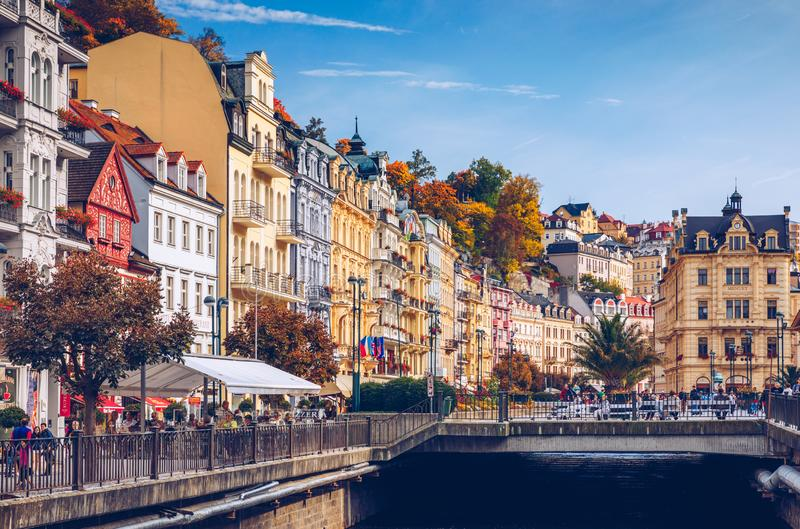 Karlovy Vary, Czech Republic - September 30, 2017: View of old town of Karlovy Vary (Carlsbad) with tourists, Czech Republic,. Europe royalty free stock image