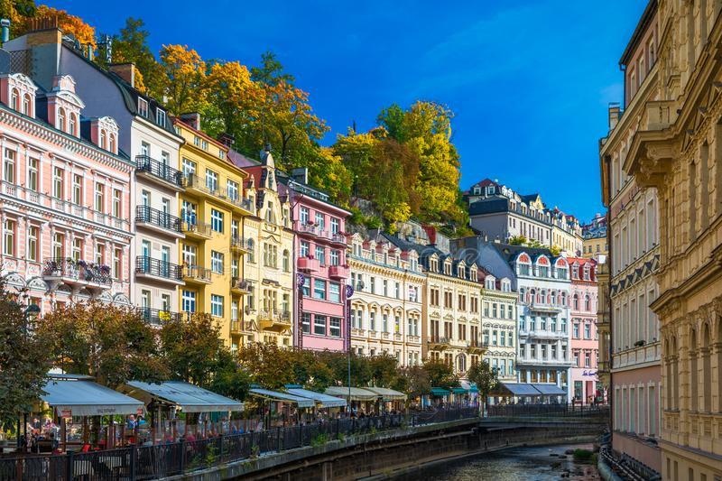 Karlovy Vary, Czech Republic - September 30, 2017: View of old town of Karlovy Vary (Carlsbad) with tourists, Czech Republic,. Europe stock images