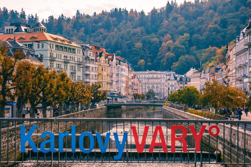 Karlovy Vary, Czech Republic - September 30, 2017: View of old town of Karlovy Vary (Carlsbad) with tourists, Czech Republic,. Europe royalty free stock photography