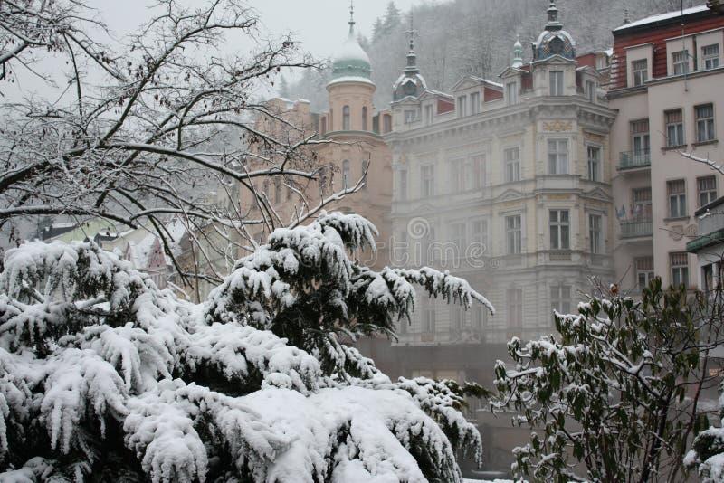Karlovy Vary. The fog stock image