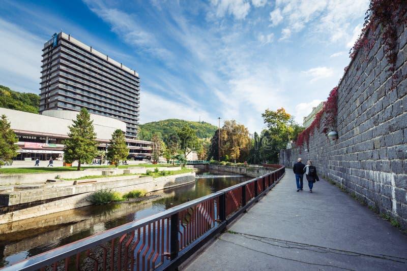 Karlovy Vary ou Carlsbad en Bohême occidentale, République Tchèque photo stock
