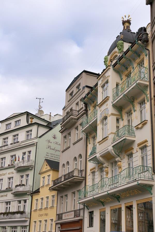 Karlovy Vary small hotels royalty free stock photos