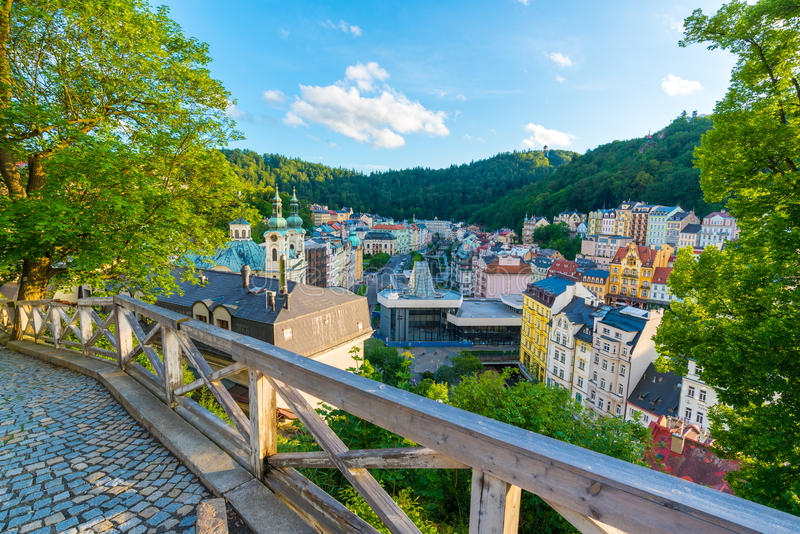 Karlovy Vary from U Tri Krizu Viewpoint royalty free stock images