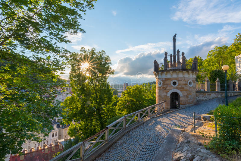 Karlovy Vary from U Tri Krizu Viewpoint royalty free stock image