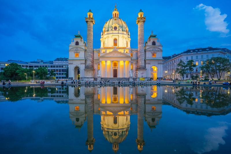 Karlskirche church at night in Vienna city, Austria royalty free stock photography