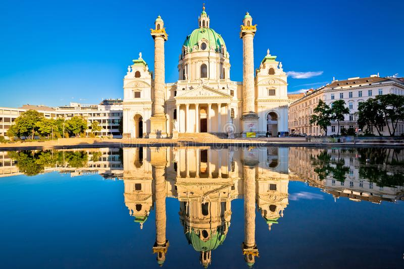 Karlskirche church of Vienna reflection view royalty free stock images