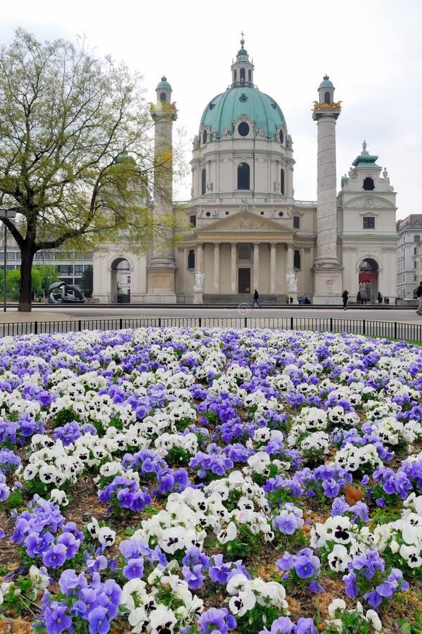 Karlskirche no.1. Karlsplatz and Karlskirche with flower bed royalty free stock image