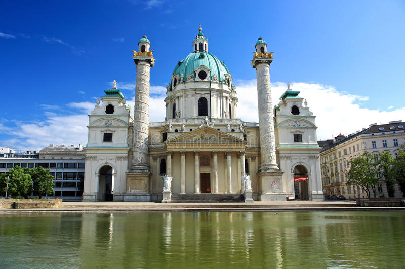Karlskirche in Vienna. Karlskirche church,One of the most famous baroque buildings in Europe. The sculpture is by Henry Moore stock photos