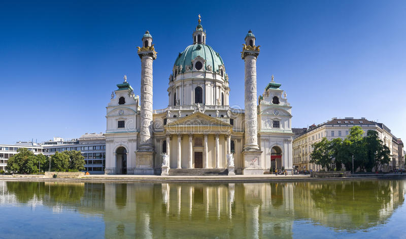 Karlskirche, Vienna. Beautiful baroque Karlskirche Church influenced by oriental architecture built in 1715 in the beautiful city of Vienna stock image