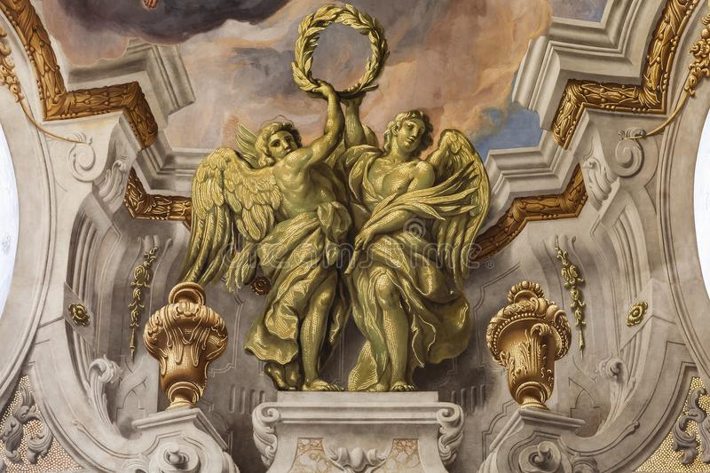 Karlskirchefresko, barokke kerk, Wenen stock fotografie
