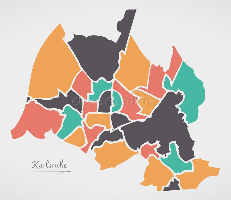 Karlsruhe Map with boroughs and modern round shapes. Illustration royalty free illustration
