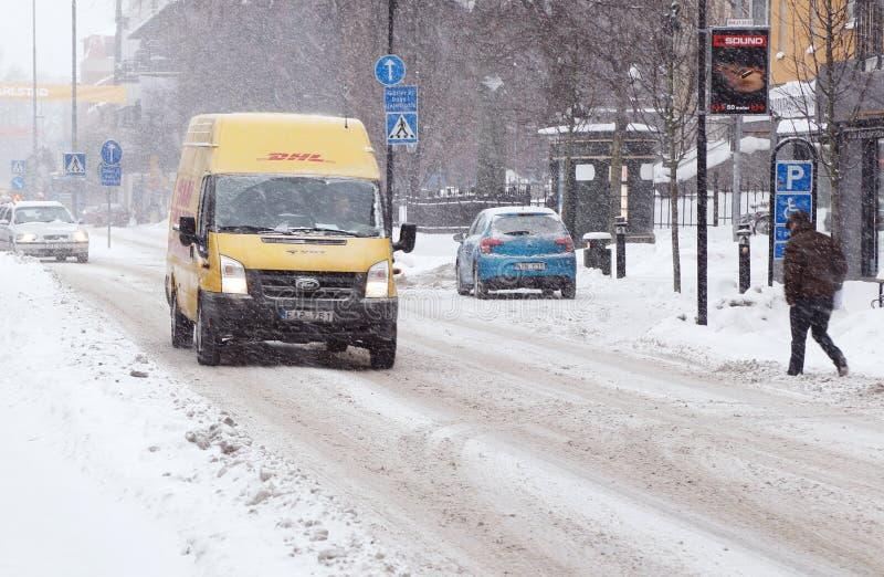 Winter road conditions stock photo
