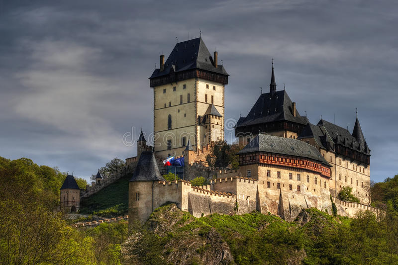 Karlstej - famous gothic castle stock photo