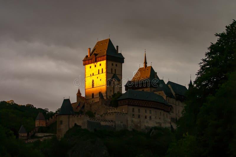 Karlstejn -哥特式城堡,地标波希米亚捷克 免版税图库摄影
